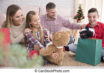Happy children with christmas gifts - Happy children with...