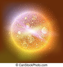 Bright glowing ball filled with particles and dust with...