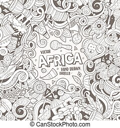 Cartoon cute doodles Africa frame - Cartoon cute doodles...