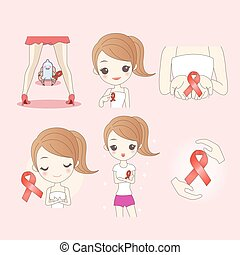 cartoon woman preventing AIDS, great for your design