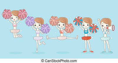 happy cartoon cheerleading, great for your design