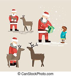 Santa Clauses set for christmas. Vector Illustration...