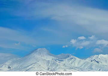 Volcano in Russia - Volcano with snow in winter day in...