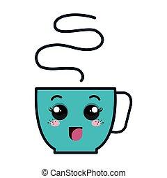 coffee cup kawaii style