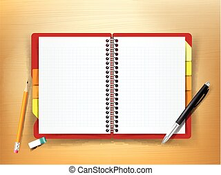 Top view of stationary notebook pen pencil eraser on wooden background vector illustration eps10