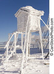 weather station shelter in winter