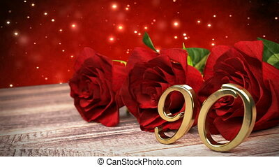 seamless loop birthday background with red roses on wooden desk. ninetieth birthday. 90th. 3D render
