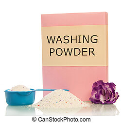Pack of washing powder in measuring cup, bunch isolated .