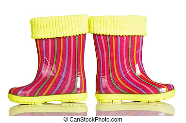 Children rubber boots with fabric inset isolated on white. -...