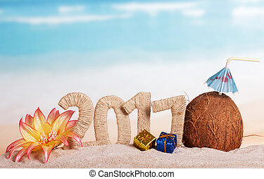 New Year 2017 inscription, coconut, christmas gifts, flower...