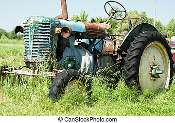 Old, rusty farm tractor
