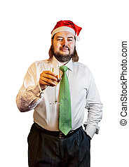 Young  man wearing a Christmas hat with glass of champagne isolated on white background