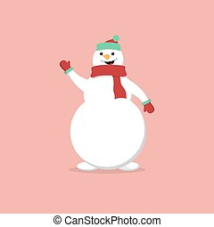 Snowman isolated on blue background