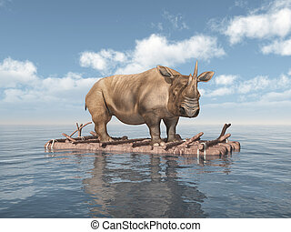 Rhinoceros on a raft - Computer generated 3D illustration...