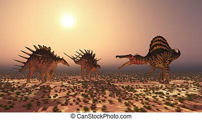 ataques,  spinosaurus,  kentrosaurus
