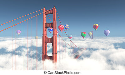 Golden Gate Bridge and hot air balloons - Computer generated...