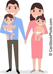Vector cute cartoon young parents with twins