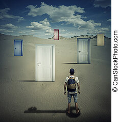 key to success - Conceptual image with a person standing in...