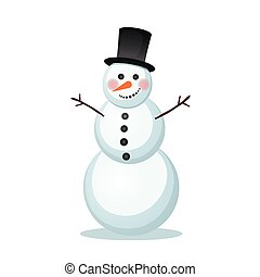 snowman in a top hat - vector illustration of winter snowman...