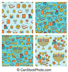 Hanukkah seamless pattern collection. Hanukkah simbols. Hanukkah candles, menorah, sufganiot and dreidel.