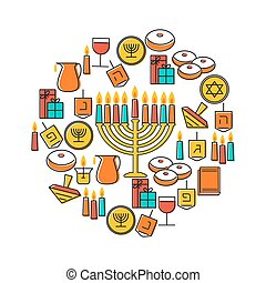 Happy Hanukkah greeting card design. Vector illustration -...