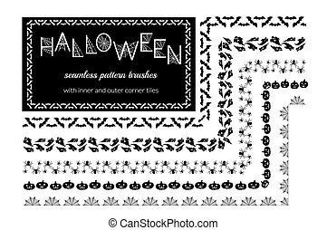 Halloween vector pattern brushes with inner and outer corner...