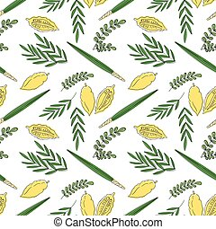 Sukkot seamless pattern background. Etrog, lulav hadas and...