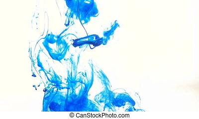 Blue ink in water right on white - Blue ink in...