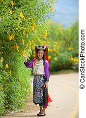 Lahu Lady in custom dress with smile. - Beautiful asian...