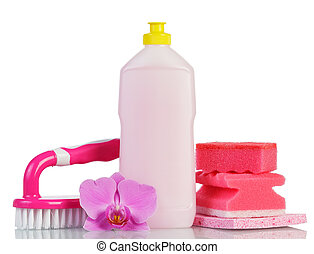Pink plastic bottle with cleaner, cleaning sponges and brush...