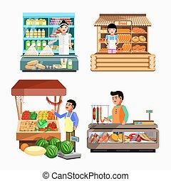 Set of sellers at the counter and stall. Collection vector...