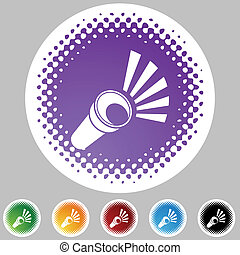 Flashlight web button isolated on a background.