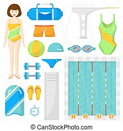 Set of flat swimming icons. Sports equipment for swim and...