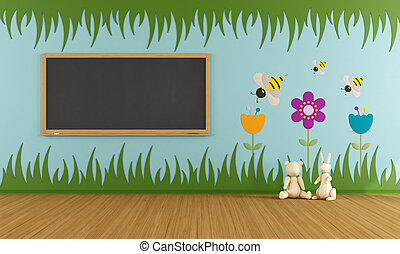 Playroom with blackboard - Playroom with colorful...