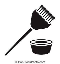 Clipart Vector of brush hair dye black icon - hair brush for hair ...