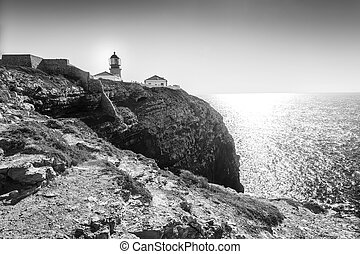 Lighthouse on the end of Saint Vincent Cape, Portugal -...