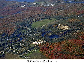 Huntsville, Ontario aerial - small town in a rural forest...