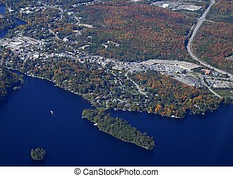 Huntsille Muskoka Autumn aerial - aerial view of a small...
