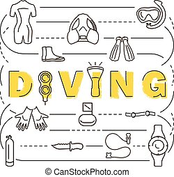 Scuba diving equipment banner