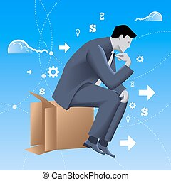 Thinking outside of the box business concept