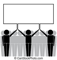 Man Carrying Holding Empty Blank Signboard Banner Placard Business Marketing Icon Sign Symbol Pictogram