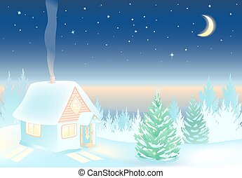 Night Winter landscape with house and forest.