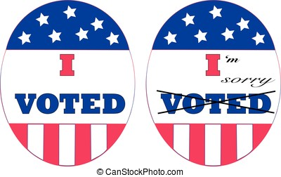 Voters remorse - I Voted stickers in red, white and blue...