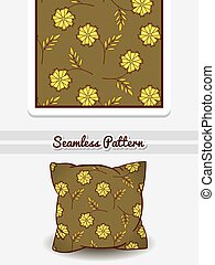 Pillow Green Floral Pattern - Hand drawn pillow with...