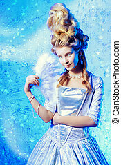 ice queen lady - Portrait of a beautiful young lady in a...