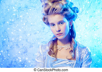 beautiful ice queen - Beautiful young lady in a historical...