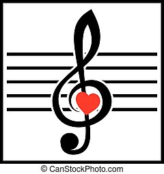 illustration with treble clef and heart on white background