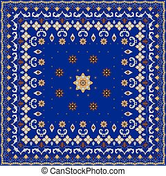 Blue handkerchief with damask ornaments