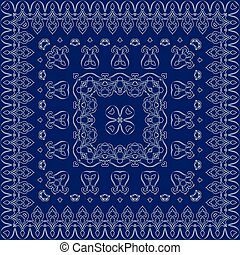 Blue handkerchief with white ornament