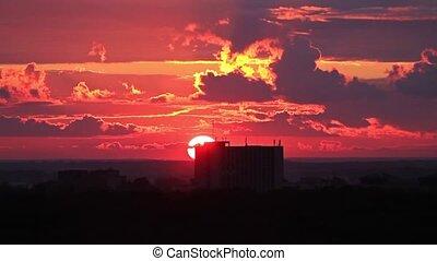 beautiful sunset on neighborhood the city